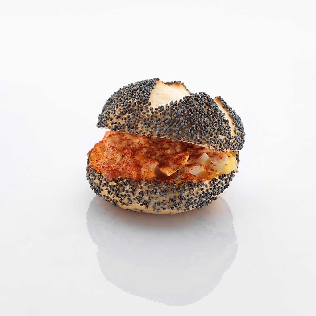 Mini-Sandwich: Mohn-Schinken-Ei