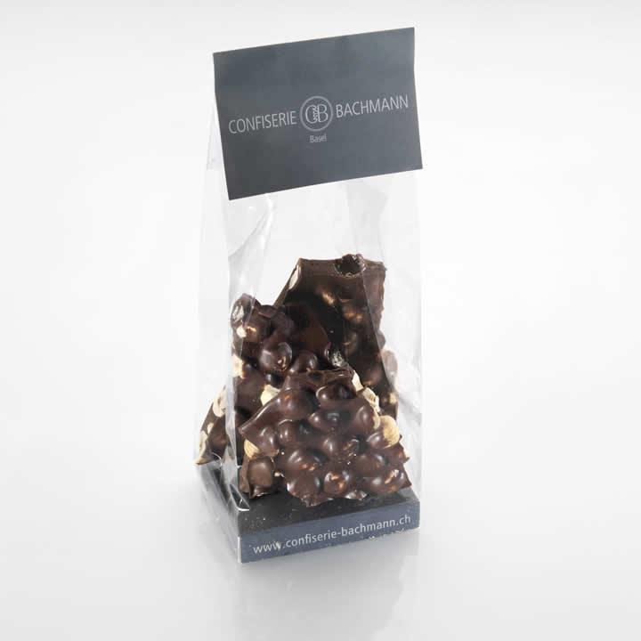 Bruchschokolade (dunkel) mit Haselnuss